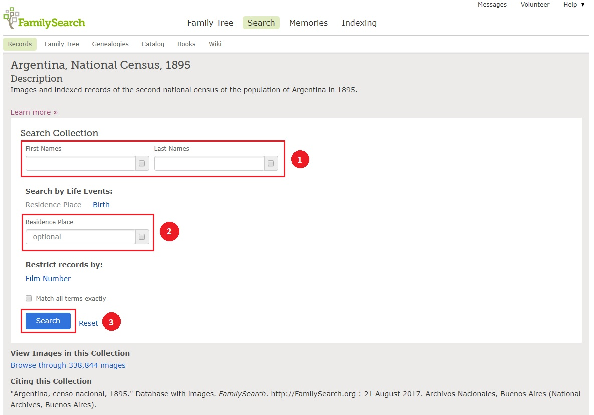 Cómo consultar el Censo Argentino de 1895 - Paso 1