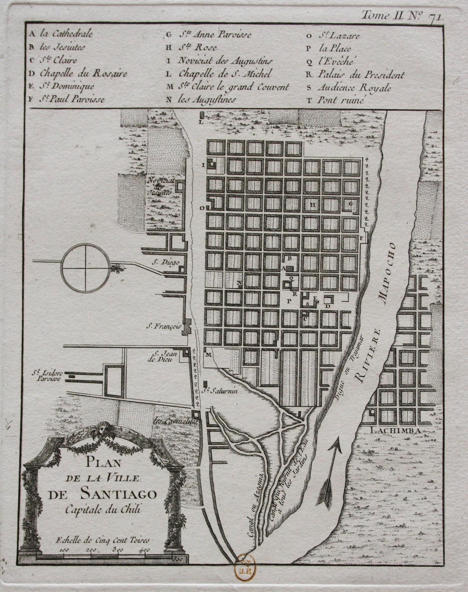 Mapa de Santiago de Chile en 1764.