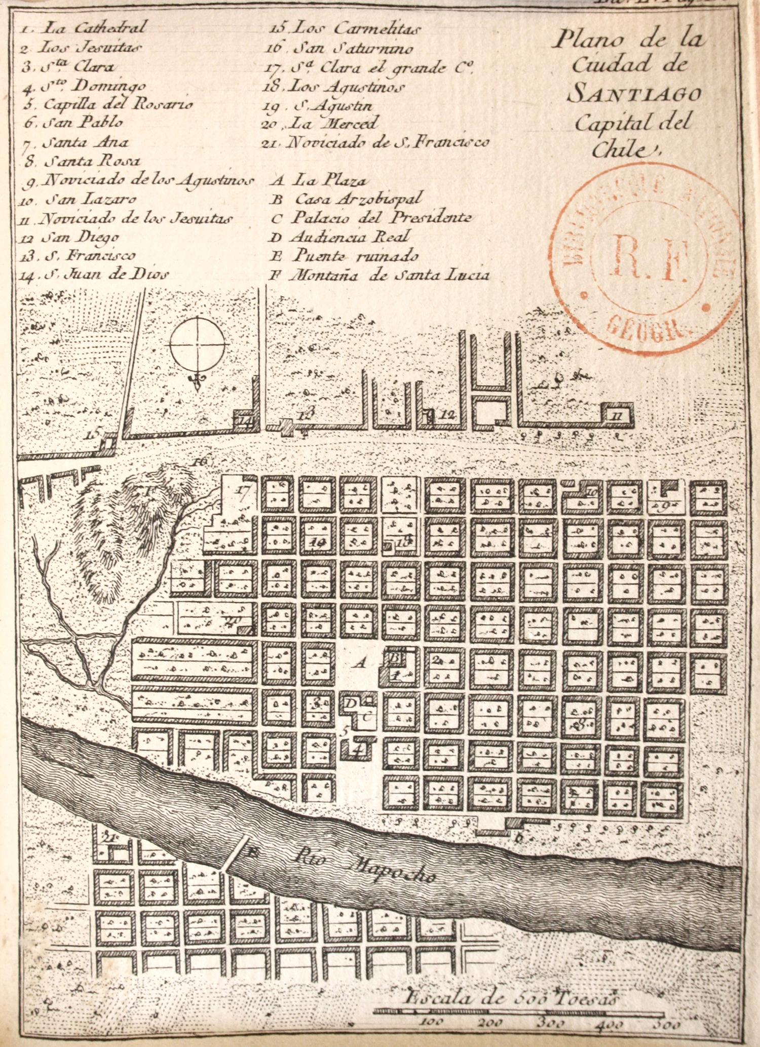 Mapa de Santiago de Chile en 1758.