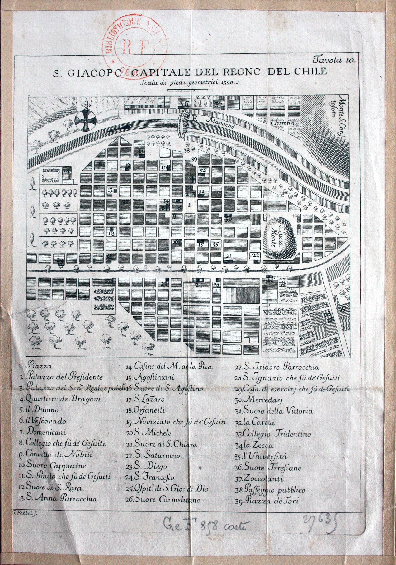 Mapa de Santiago de Chile en 1770.