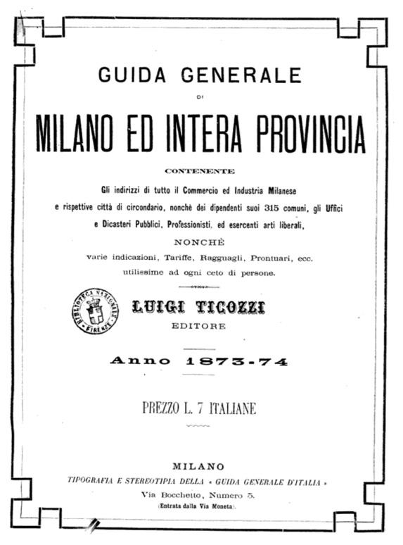 Guía de Milano 1873-74 Personas, Direcciones y más