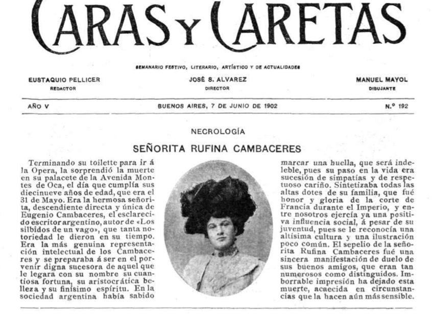 Obituario de Rufina en la revista Caras y Caretas, Junio 7 1902.