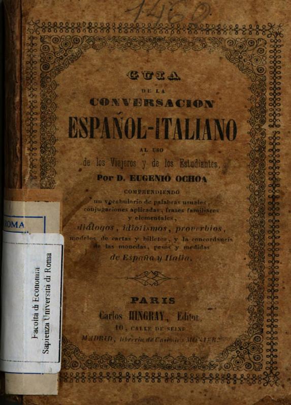Libros Antiguos: 1842, Guia de la conversacion Espanol-Italiano