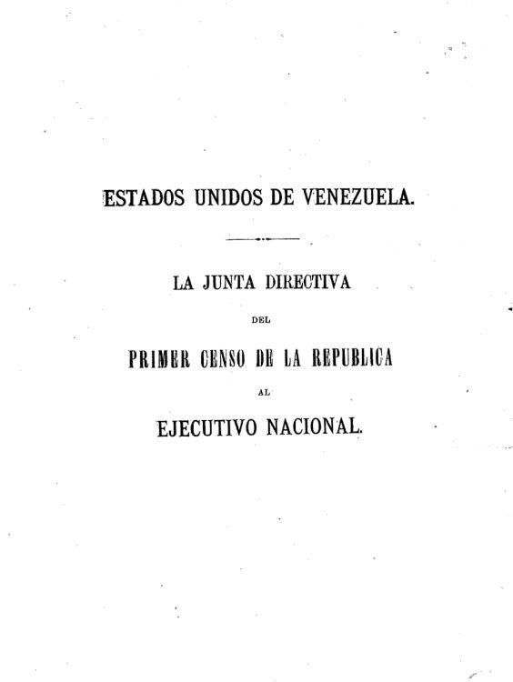 1874 Primer censo de la República de Venezuela