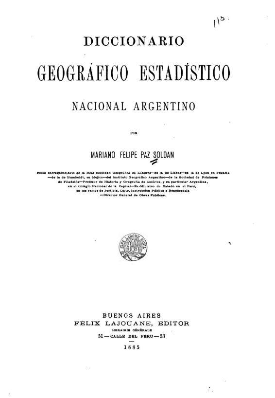 Diccionario geográfico estadístico nacional argentino - Portada