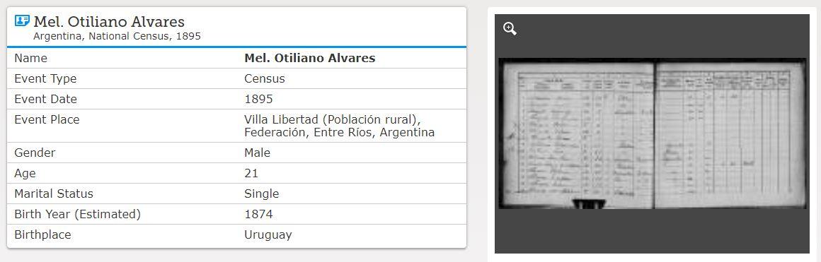 Uno de los hijos de José Alvarez se llamaba Otiliano. Aquí su registro en el Censo de 1895, que me permitió aprender más sobre sus padres