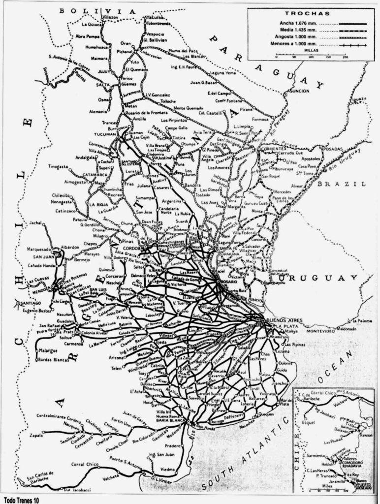 Mapa del Ferrocarril General Belgrano