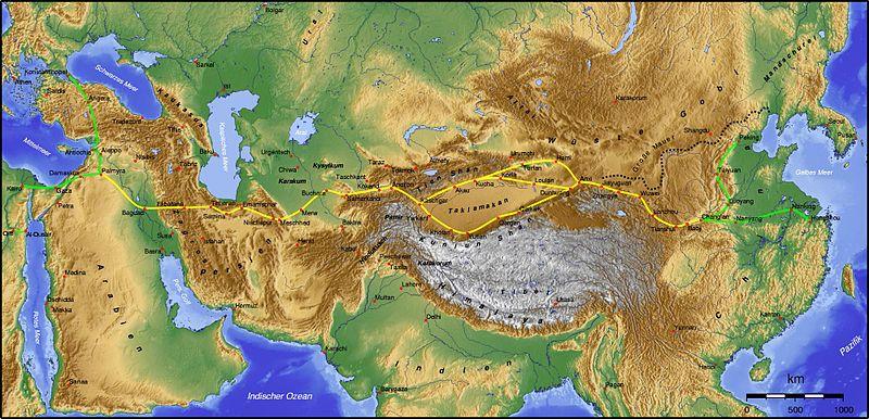 Las principales rutas del camino de la seda.