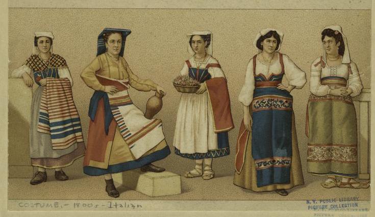 Trajes italianos tradicionales - c. 1800