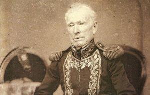 Retrato del Almirante Guillermo Brown, nacionalizado argentino y almirante de la fuerza naval de la Argentina.