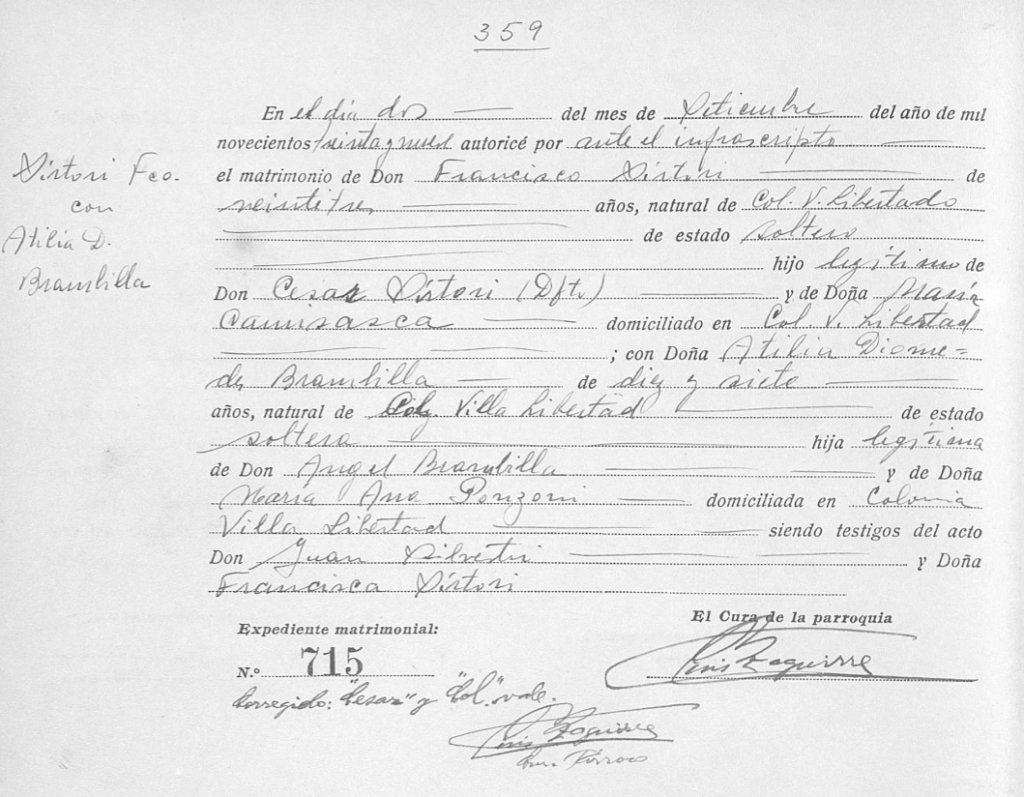 Acta de matrimonio de 1935.