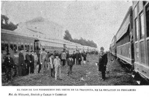 """""""El tren de los peregrinos del Oeste de la provincia, en la estación de Pergamino"""", 1901."""