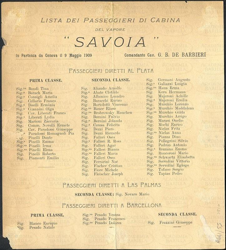 Lista de pasajeros de cabina en el buque Savoia en 1909, impreso en el reverso del menú de comidas.