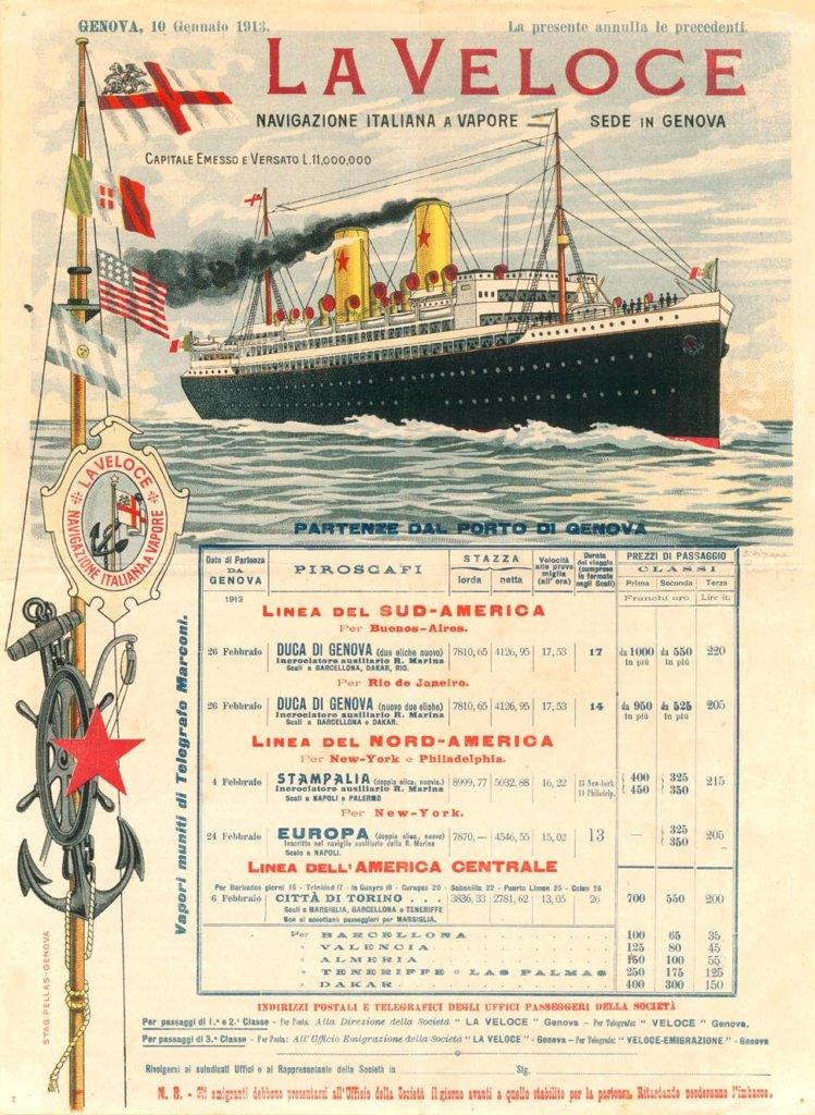 Itinerario de La Veloce en 1913, partidas del puerto de Genova hacia Sud, Norte y Centro América.