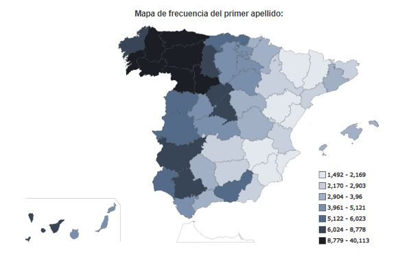 """Distribución del apellido """"Alvarez"""" en España."""