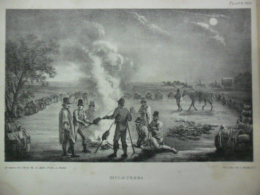 Grabado de Gauchos haciendo un asado en 1820.