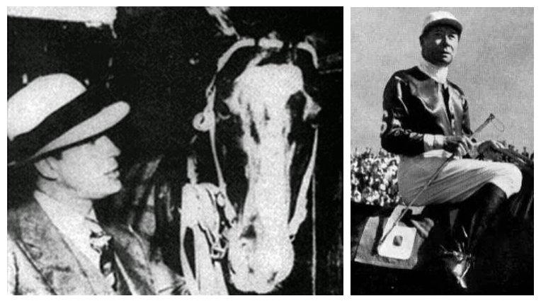 """Carlos Gardel y su caballo """"Lunático"""", quien con la monta del legendario Irineo Leguisamo ganó carreras en Palermo y La Plata."""