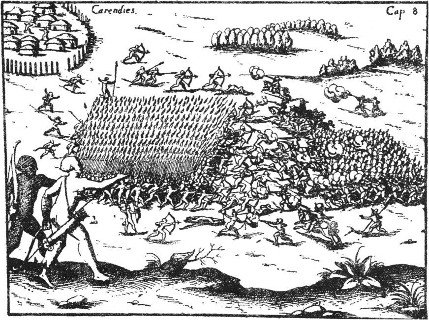 """Batalla contra los Querandies, del libro """"EL Primer Historiador de los Paises de La Plata"""", por Ulrich Schmidel."""